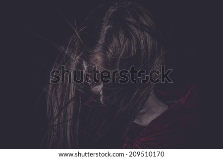 Insomnia, Young girl with hair flying, concept nightmares - stock photo