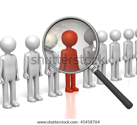 Inspecting Row of Figures - stock photo