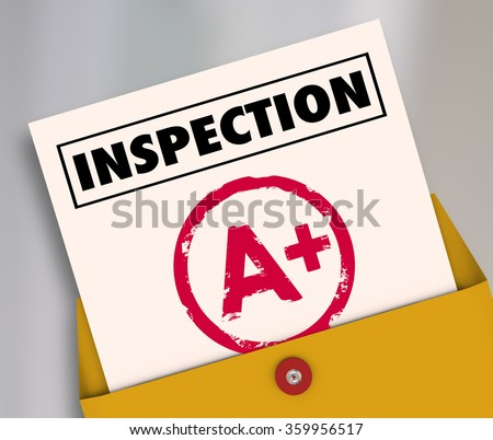 Inspection report card with an A Plus grade or score for an excellent review or evaluation