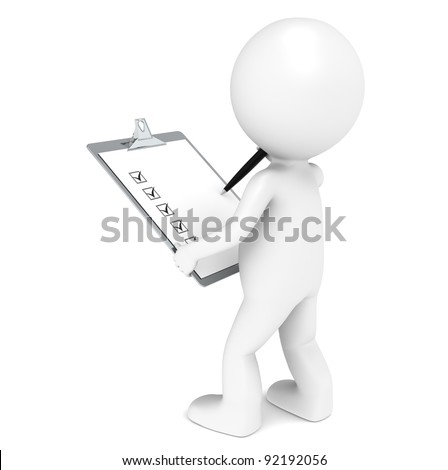 Inspector. 3D little human character The Inspector holding a Clip Board and a Pen. - stock photo