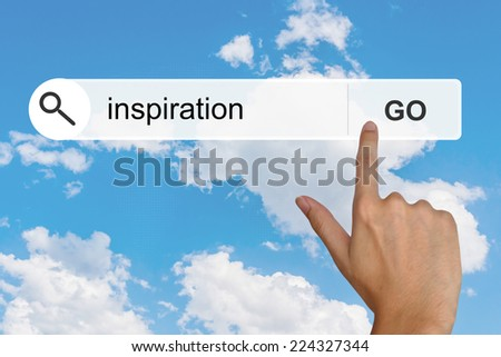 inspiration button on search toolbar - stock photo