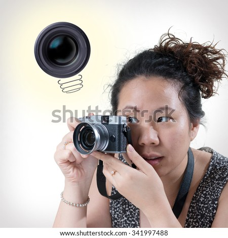 Inspiration concept. A girl have a good idea.Camera lens light bulb metaphor for good idea.