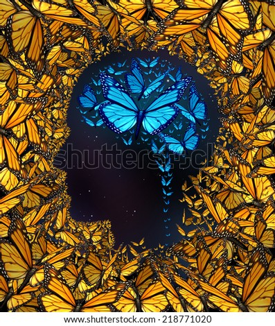 Inspiration concept and thinking potential metaphor as a group of butterflies in the shape of a human face and brain as a symbol for learning and the power of education and innovation. - stock photo