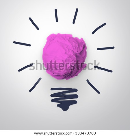 Inspiration concept crumpled pink paper light bulb metaphor for good idea. - stock photo