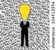 Inspiration Concept, The Man With Yellow Light Bulb Head Stand on Many Idea Label Background - stock photo