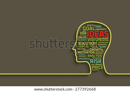 inspiration concept with head and business words, background for your design
