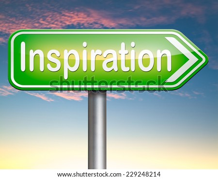 inspiration getting inspired be creative create and invent brainstorm and inspire with text and word inspirations  - stock photo