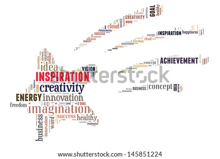 Inspiration info-text graphics and arrangement concept (word cloud) in white background