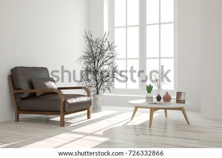 Inspiration White Minimalist Room Armchair Scandinavian Stock ...