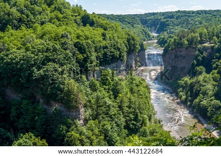 Inspiration Point reveals the Upper and Middle Falls in Letchworth State Park, New York. - stock photo