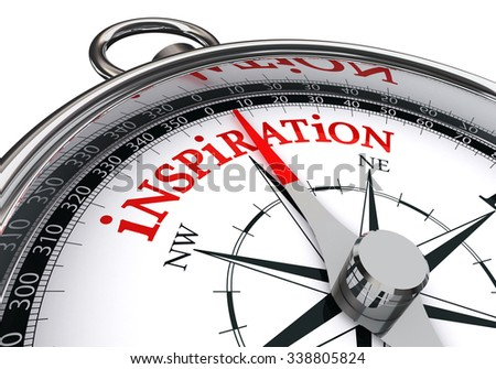 inspiration red word on concept compass, isolated on white background - stock photo