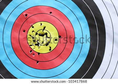 inspiration to successful with archery target. - stock photo
