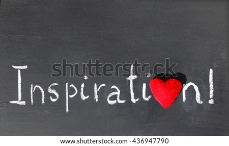 Inspiration word heart. Inspiration word handwritten on blackboard with heart symbol instead of O.