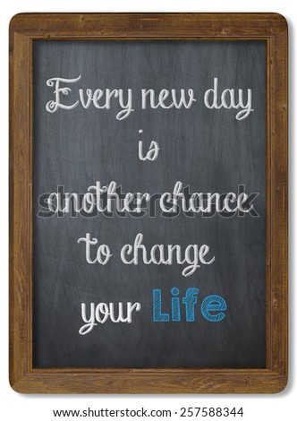 Inspirational motivating quote on Chalkboard - stock photo