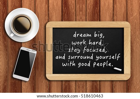 Inspirational Motivating Quote On Chalkboard With Coffee, Phone And Wooden  Background. Dream Big,