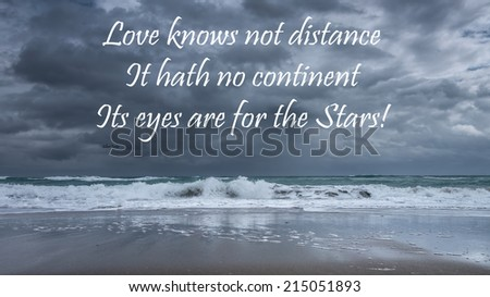 Inspirational quote about life, love, and soul by Gilbert Parker  on a beautiful stormy seascape background