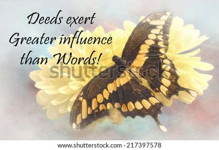 Inspirational quote about life, love, and spirituality by Baha'u'llah  with a beautiful Giant Swallowtail  Butterfly  on a textured background  - stock photo