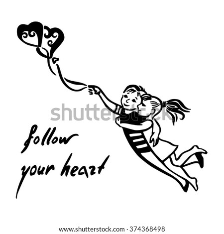 Inspirational quote about love. Follow your heart! Hand drawn sketchy Couple Flying with  balloon shaped heart,romantic illustration with couple in love.Teen couple flying on heart air balloons - stock photo