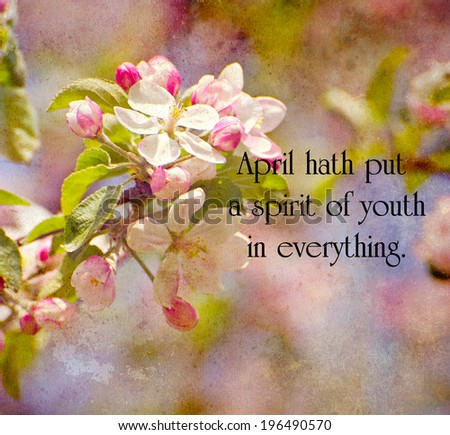 Inspirational quote by William Shakespeare on a spring themed background. - stock photo
