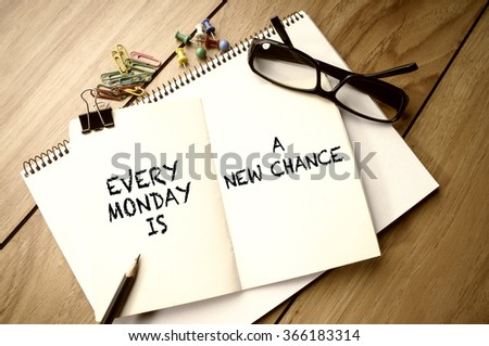 Inspirational Quote - Every Monday is a New Chance - stock photo