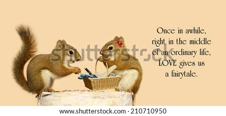 Inspirational quote on life by an unknown author with a pair of squirrels in love with a picnic basket. - stock photo
