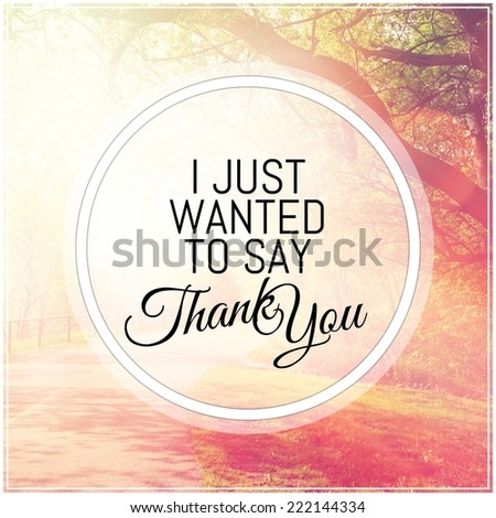 Inspirational Typographic Quote - I just wanted to say thank you - stock photo
