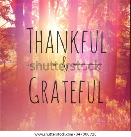 Inspirational Typographic Quote - Thankful & Grateful