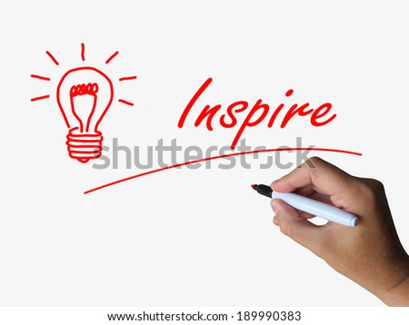 Inspire and Lightbulb Referring to Inspiration Motivation and Influence