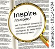 Inspire Definition Magnifier Shows Motivation Encouragement And Inspiration - stock photo