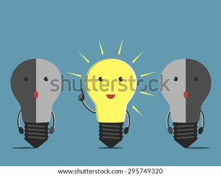 Inspired glowing light bulb character in moment of insight and two confused dull ones - stock photo
