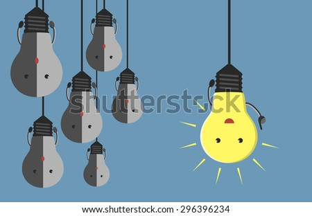 Inspired glowing light bulb character in moment of insight hanging beside many gray dull ones. Innovation, motivation, insight, inspiration concept - stock photo