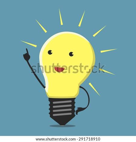 Inspired light bulb character, aha moment - stock photo