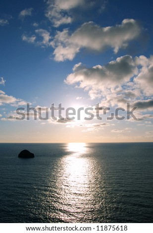inspiring sunset over ocean