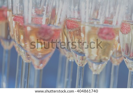 Instagram filter, glasses of champagne with a large depth of field - stock photo