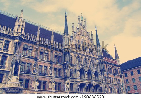 instagram nashville tone Facade of the famous Townhall / Munich - stock photo