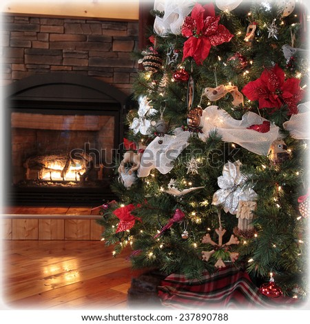instagram of beautiful christmas tree and cottage fireplace - stock photo