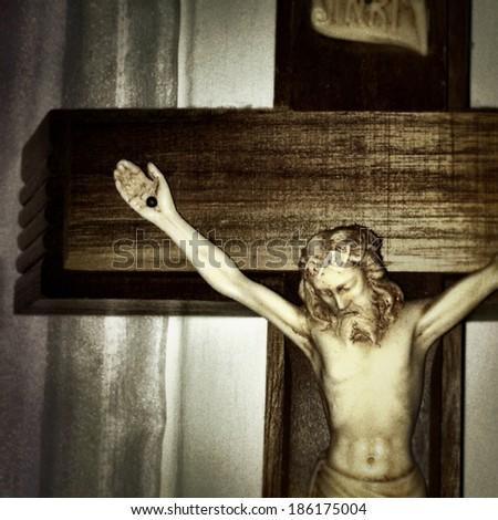 Instagram style of Jesus on the cross - stock photo