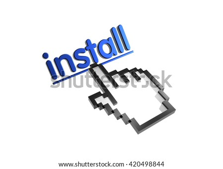 install. 3d rendered inscription. Link and finger, pointer. Isolated on white