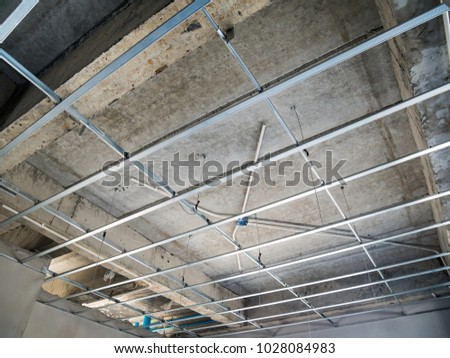 Install Metal Frame Plaster Board Ceiling Stock Photo (Safe to Use ...