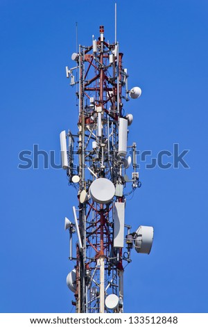 Installation Of Antennas For Sending And Receiving Radio Signals - stock photo