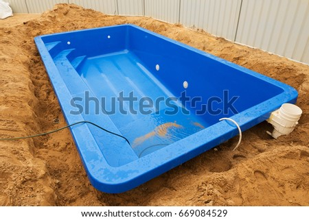 Installation Plastic Fiberglass Pool Ground House Stock Photo 669084529 Shutterstock