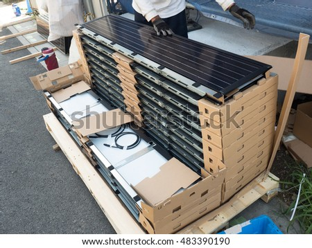 Installation work of the solar panels