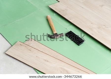 Installing Laminate Flooring Tools Floor Installation Stock Photo
