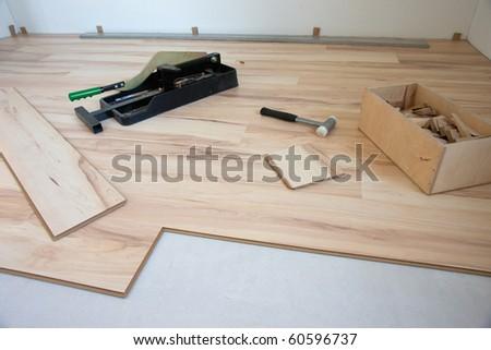Installing parquet - stock photo