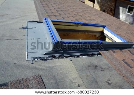 Installing Skylights Windows In New House. Bitumen Roof Shingles. Vapor  Barrier And Waterproofing.