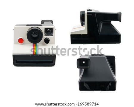 Instant camera 3 view - stock photo