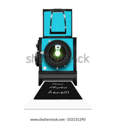 instant camera with a blank photo coming out - stock photo