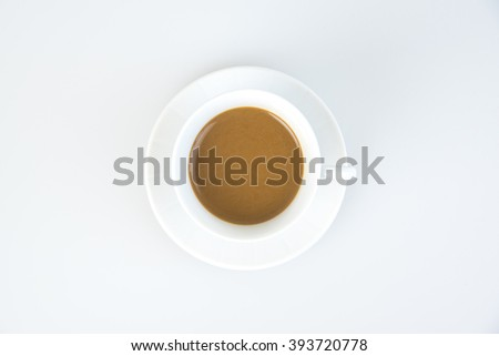 Instant coffee, a glass of white white background.