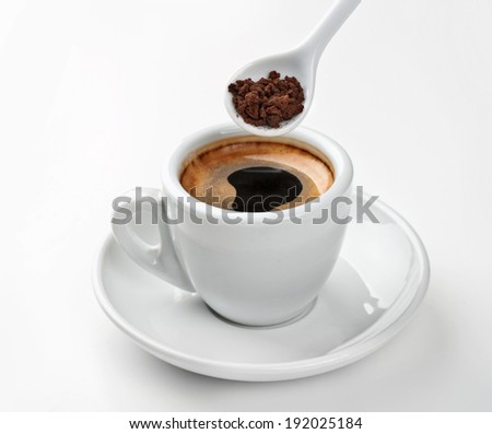 instant coffee cup on white background - stock photo