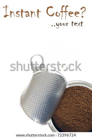 Instant coffee in a metallic can, for greek Frappe, on white background, for poster - stock photo